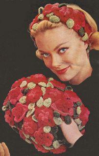 Vintage Flower Leaf Hair Hat Band Muff Crochet Pattern