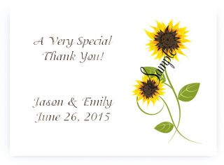 100 Personalized Sunflower Bridal Wedding Thank You Cards