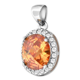Oval Cut Orange Citrine CZ Gemstone 925 Sterling Silver Pendant