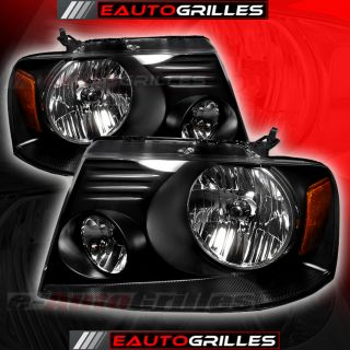Ford F150 Truck Clear Lens Black Amber Crystal Headlights Pair