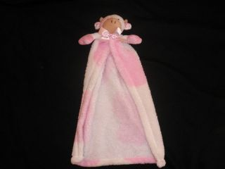 Cutie Pie Baby Pink White Cow Lovey Security Blanket Plush