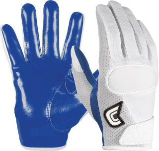 Cutters Flip Football Gloves Adult Sizes White and Royal 017 Original
