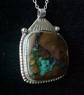 Native American COURTLAND PLUME TURQUOISE & STERLING SILVER PENDANT