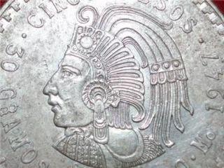 1947 Cuauhtemoc 90% Silver Aztec Ruler Cinco Pesos Mexico city Mint #