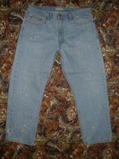 Covington Mens 38x29 Classic Fit Bleach Splattered Lt Blue Denim Jeans