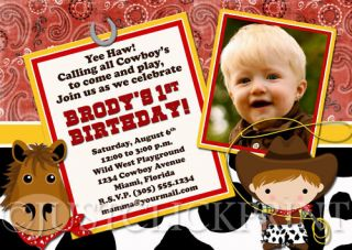 Country Western Cowboy Birthday Photo Invitation UPRINT