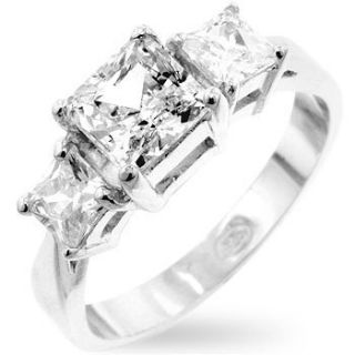 Three Stone Princess Cut Cubic Zirconia Ring with 925 Silver base