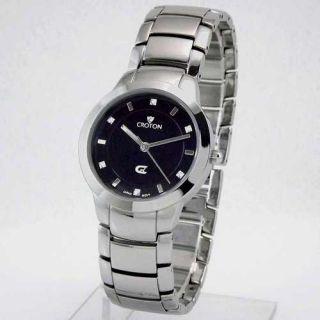 Croton Womens Silver Tone Black Dial Diamond Bracelet Watch