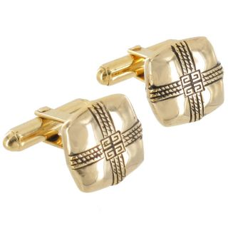 Givenchy Cufflinks Mens Jewelry Rounded Square Gold Plated Cuff Links