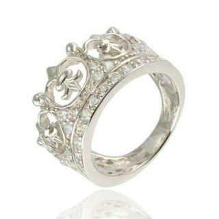 Crown Shape CZ Cubic Zirconia 925 Sterling Silver Bridal Engagement