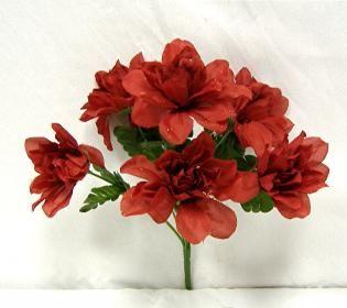 Dahlia Flowers Burgundy Silk Flower Bush Wedding Bridal Bouquet