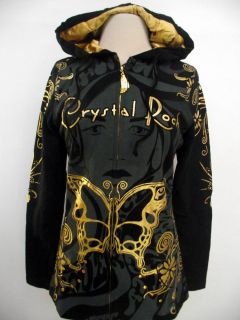 Crystal Rock Ed Hardy Cristian Audigier Juniors Hoodie Shirt Black