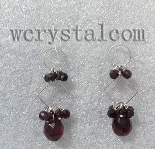 Genuine Garnet Faceted 6mm Purple Crystal Drop Earrings