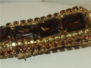 Vintage Huge Topaz Citrine Rhinestone Bracelet