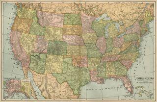 United States Map Authentic 1899 Inc Indian Territory Alaska Territory