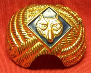 Boy Scouts of America Cub Scout Wolf Neckerchief Slide Brass 1950s