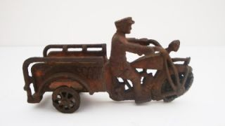 Cast Iron 1920s Indian Motorcycle Trike Crash Car Old Toy