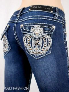 Women LA Idol Bootcut Jeans Embroidery Crystal Crown Jewel Pockets