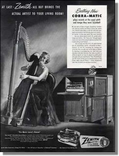 Woman playing harp   Zenith cobra matic record player radio print ad