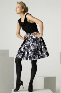 Milly Ruffle Cashmere Tank & Floral Print Duchesse Satin Skirt
