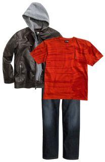 Black Rivet Hooded Faux Leather Jacket, Volcom Screenprint T Shirt & Mavi Jeans Straight Leg Jeans (Big Boys)
