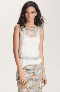 Haute Hippie Embellished Lace Crop Tank