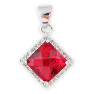 Square Red Topaz and Cubic Zirconia Sterling Silver Pendant