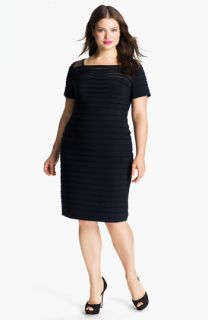Adrianna Papell Illusion Bodice Pleated Jersey Sheath Dress (Plus)