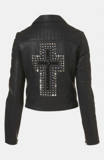 Topshop Cross Studded Faux Leather Jacket