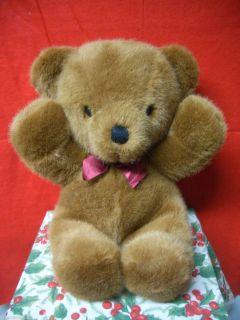 Dakin Cuddles Teddy Bear 1979 Brown Cinnamon Plush Burgundy Satin