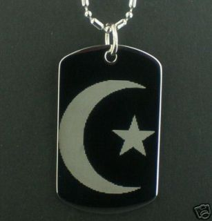 Crescent Moon Muslim Religion Dog Tag Pendant Necklace