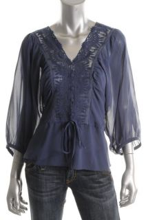 Daniel Rainn New Blue Sheer Lace Trim Dolman Sleeves 2pc Blouse Top