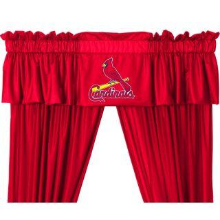 Cardinals Drapes Valance Set Baseball Window Treatment Curtains
