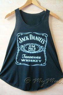 Jack Daniels Print Tank Vest T Shirts Top Ladies Womens Girls New