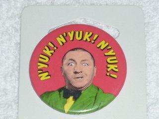 Three 3 Stooges Buttons Up Pin Curly NYUK NYUK NYUK Curley