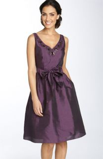 Adrianna Papell Embellished Taffeta Party Dress