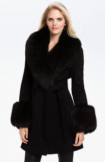 Dale Dressin Wool Coat with Genuine Fox Fur Trim
