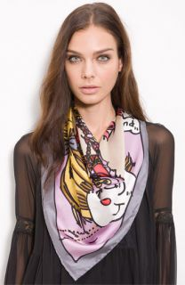 Betsey Johnson I Love Girly Charms   Oversized Square Silk Scarf