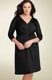 David Meister Gathered Matte Jersey Dress (Plus)