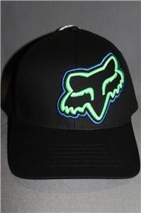 fox racing flexfit hat cap damo black green blue