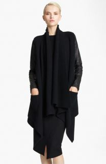 Donna Karan Collection Leather Sleeve Knit Cozy