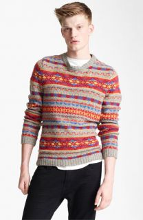 Topman Fair Isle Crewneck Sweater with Elbow Patches