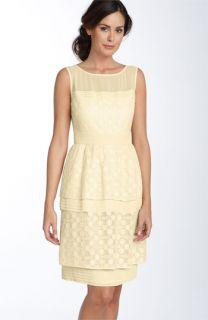 Adrianna Papell Illusion Bodice Lace Dress