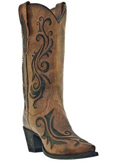 Womens Cowboy Boots Dan Post Scroll Brandy Goat Medium B M Snip Toe