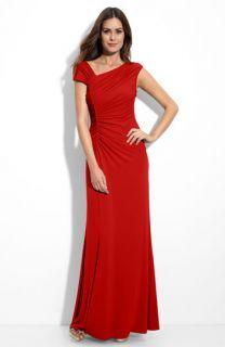 Calvin Klein Asymmetrical Ruched Jersey Gown