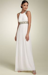 Aidan Mattox Chiffon Halter Gown with Beaded Straps
