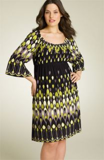 Muse Poet Print Matte Jersey Dress (Plus)