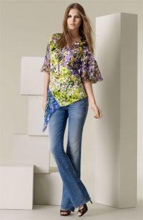 Roberto Cavalli Freesia Print Silk Blouse & Bootcut Stretch Jeans