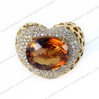 Crivelli 18K Yellow Gold Diamond and Citrine Heart Ring