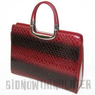 Vani Designer Woman Red Croc Briefcase Handbag Purse